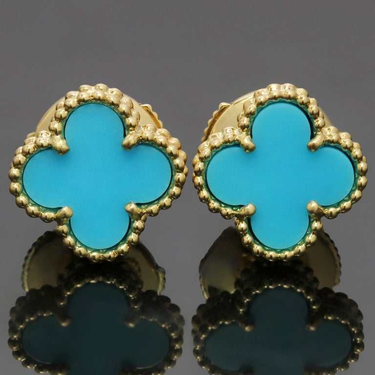 Van Cleef & Arpels Sweet Alhambra Turquoise YG Earrings, VCA Pouch Papers For Sale 3