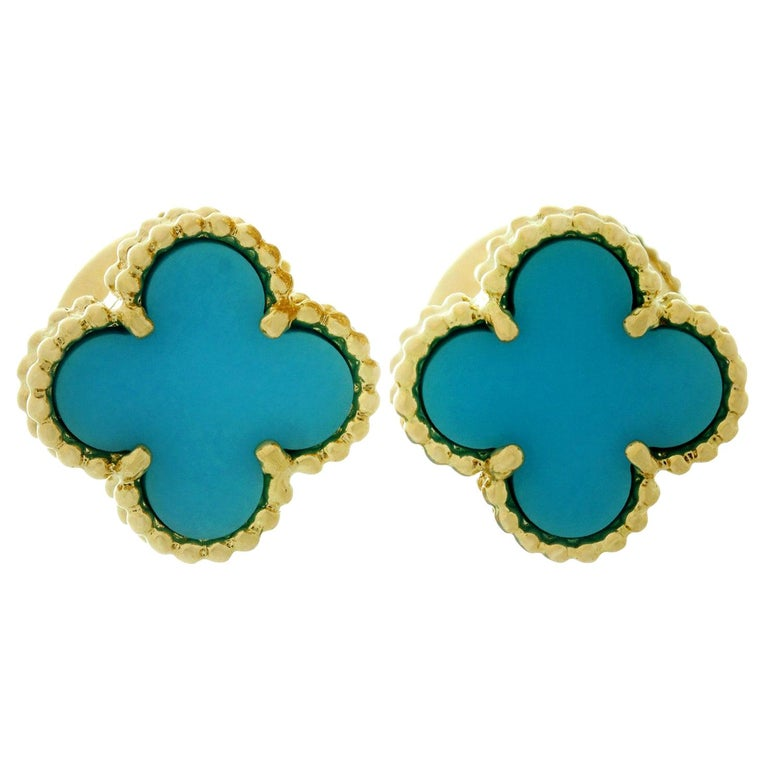 Van Cleef & Arpels Sweet Alhambra Turquoise YG Earrings, VCA Pouch Papers For Sale