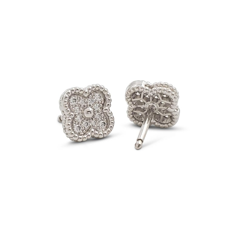 Round Cut Van Cleef & Arpels 'Sweet Alhambra' White Gold and Diamond Stud Earrings For Sale