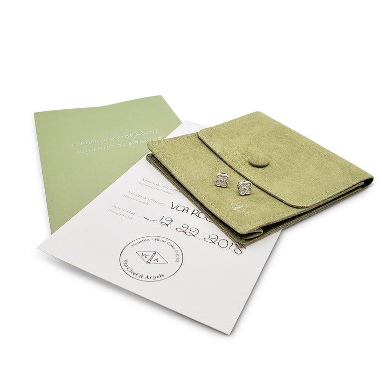 Women's Van Cleef & Arpels 'Sweet Alhambra' White Gold and Diamond Stud Earrings For Sale
