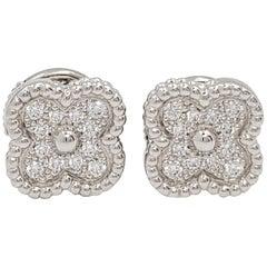 Van Cleef & Arpels 'Sweet Alhambra' White Gold and Diamond Stud Earrings