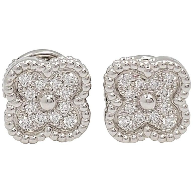Van Cleef & Arpels 'Sweet Alhambra' White Gold and Diamond Stud Earrings For Sale