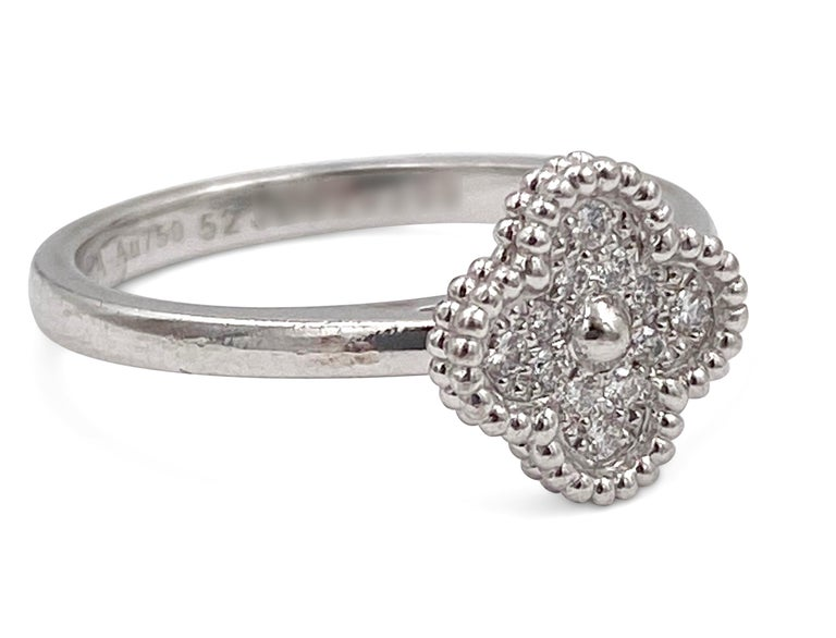 Round Cut Van Cleef & Arpels 'Sweet Alhambra' White Gold Diamond Ring For Sale