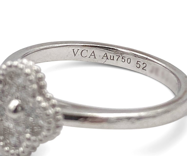 Van Cleef & Arpels 'Sweet Alhambra' White Gold Diamond Ring In Excellent Condition For Sale In New York, NY