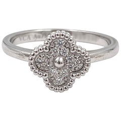 Van Cleef & Arpels 'Sweet Alhambra' White Gold Diamond Ring