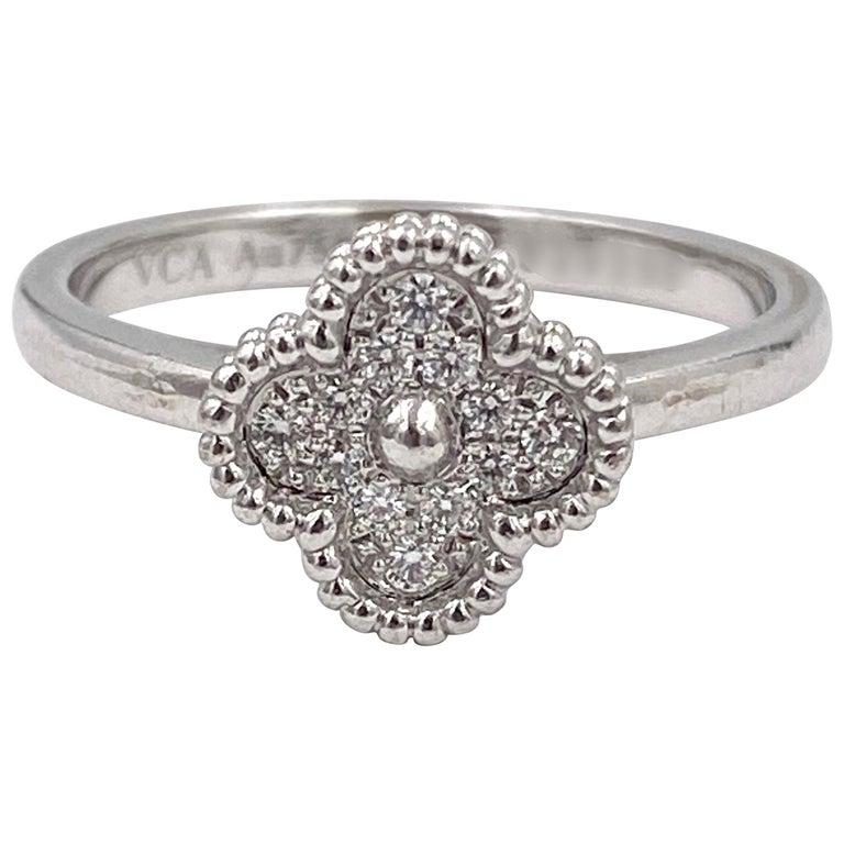 Van Cleef & Arpels 'Sweet Alhambra' White Gold Diamond Ring For Sale