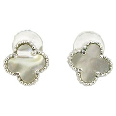Van Cleef & Arpels Sweet Alhambra White Gold Earrings Studs