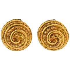 Van Cleef & Arpels Swirl Motif Gold Earrings