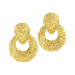 Van Cleef & Arpels Textured Yellow Gold Door Knocker Earrings
