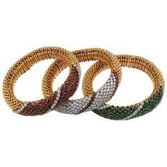 Van Cleef & Arpels Trio Barber Pole  Gem  Diamond Bracelets