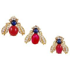 Van Cleef & Arpels Three Gold Cabochon Ruby, Sapphire, Diamond Bee Brooch