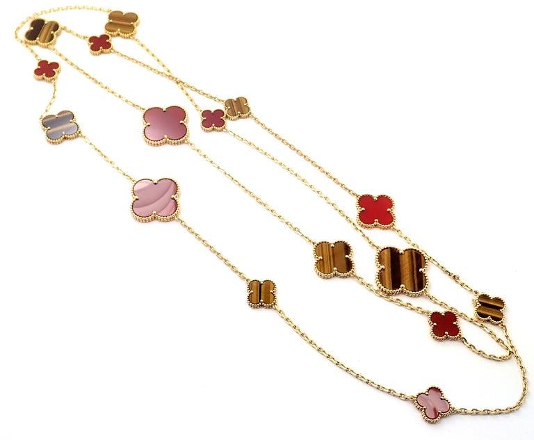 Van Cleef & Arpels Tiger Eye Carnelian 16 Motif Magic Alhambra Gold Necklace For Sale 5