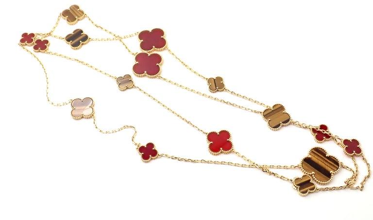 Van Cleef & Arpels Tiger Eye Carnelian 16 Motif Magic Alhambra Gold Necklace For Sale 6