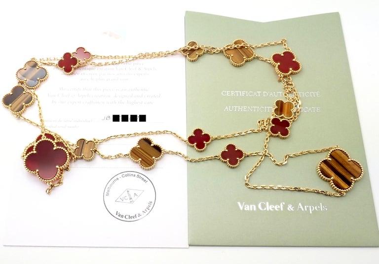 Uncut Van Cleef & Arpels Tiger Eye Carnelian 16 Motif Magic Alhambra Gold Necklace For Sale