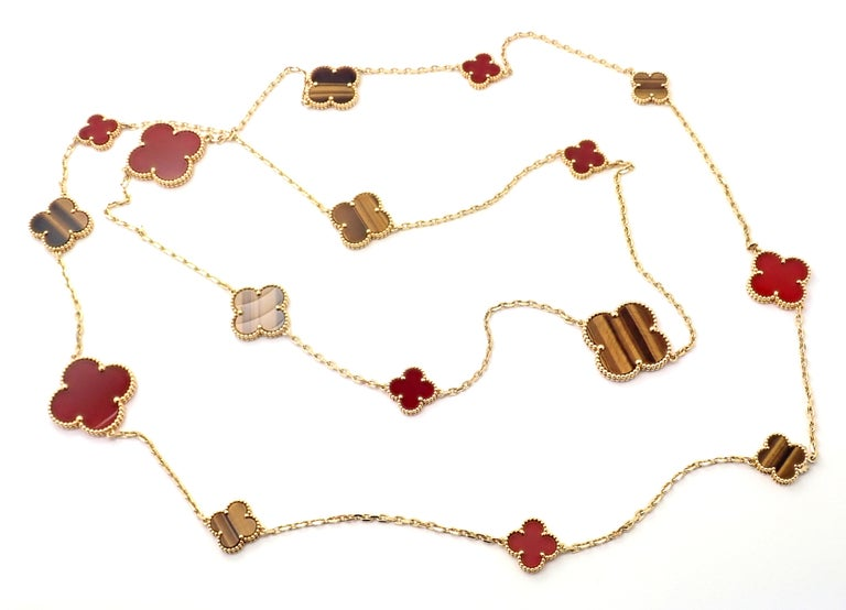 Van Cleef & Arpels Tiger Eye Carnelian 16 Motif Magic Alhambra Gold Necklace In Excellent Condition For Sale In Holland, PA