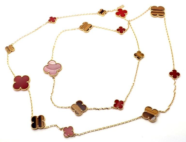Van Cleef & Arpels Tiger Eye Carnelian 16 Motif Magic Alhambra Gold Necklace For Sale 3