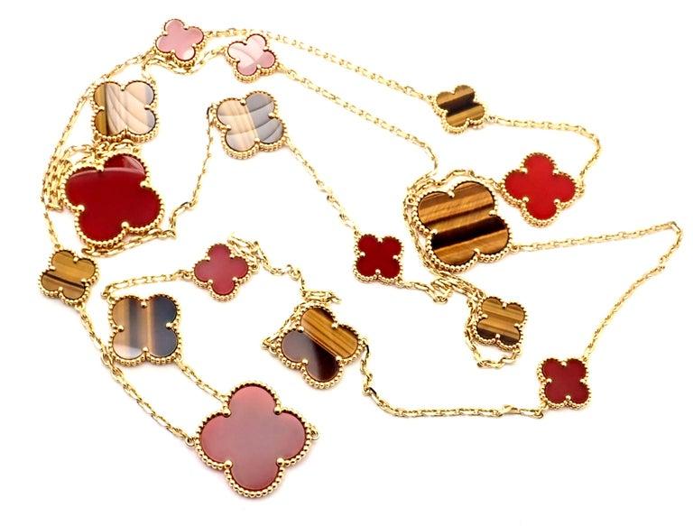 Van Cleef & Arpels Tiger Eye Carnelian 16 Motif Magic Alhambra Gold Necklace For Sale 4