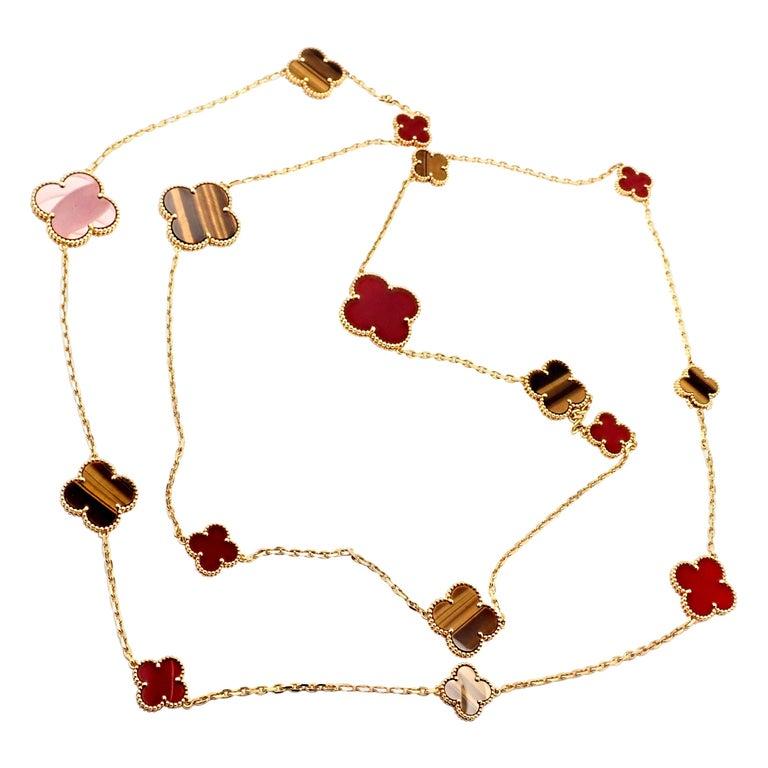 Van Cleef & Arpels Tiger Eye Carnelian 16 Motif Magic Alhambra Gold Necklace For Sale