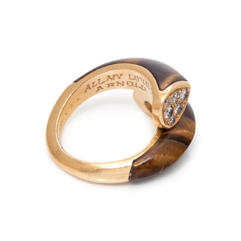 Van Cleef & Arpels Tiger's Eye & Diamond Ring In Fair Condition For Sale In New York, NY
