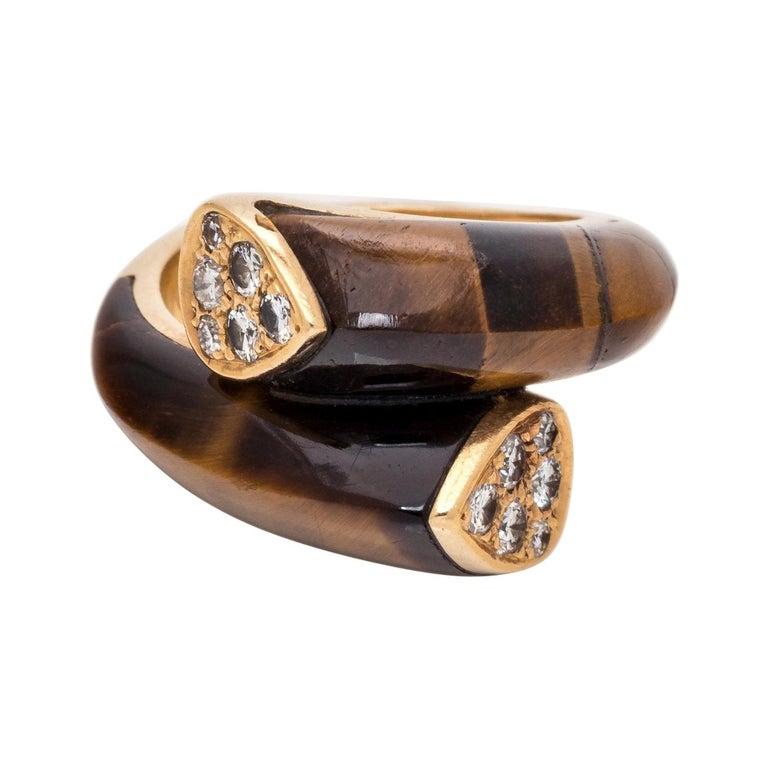 Van Cleef & Arpels Tiger's Eye & Diamond Ring For Sale