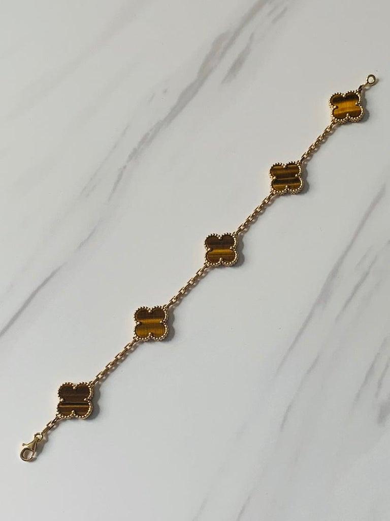 Van Cleef & Arpels Tiger's Eye Vintage Alhambra 5 Motif Gold Bracelet In Excellent Condition In Banbury, GB