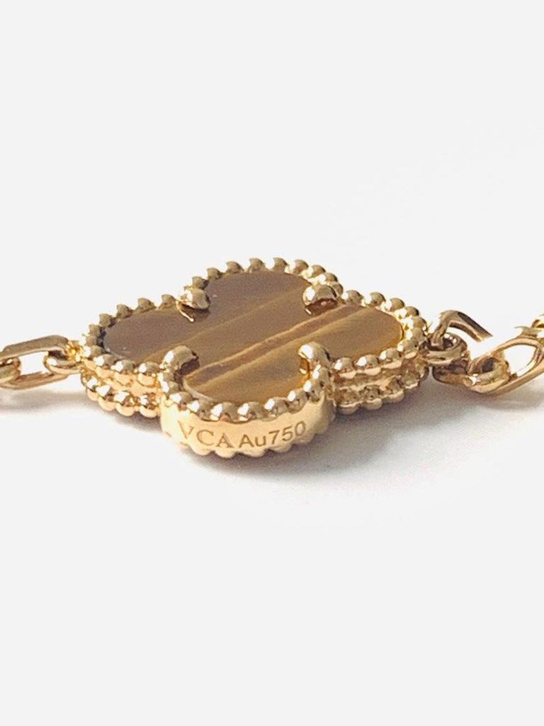 Van Cleef & Arpels Tiger's Eye Vintage Alhambra 5 Motif Gold Bracelet 2