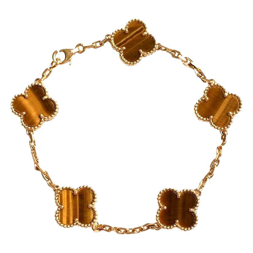 Van Cleef & Arpels Tiger's Eye Vintage Alhambra 5 Motif Gold Bracelet