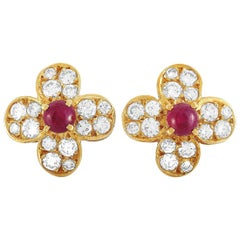 Van Cleef & Arpels Trefle 18 Karat Yellow Gold 0.82 ct Diamond and Ruby Earrings