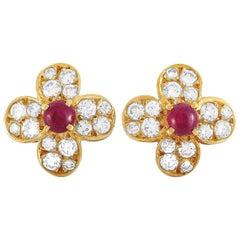 Van Cleef & Arpels Trefle 18 Karat Yellow Gold 0.82 ct Diamond and Ruby Earrings