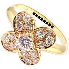 Van Cleef & Arpels Trefle Clover Diamond Yellow Gold Ring