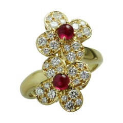 Van Cleef & Arpels Trefle Diamond Ruby Yellow Gold Double Flower Ring