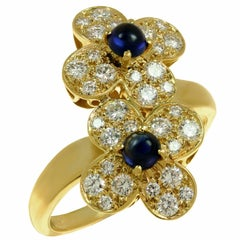 Van Cleef & Arpels Trefle Diamond Sapphire Yellow Gold Double Flower Ring