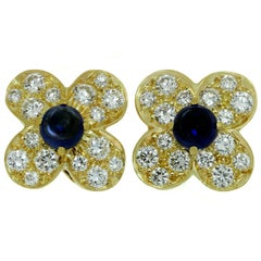 Van Cleef & Arpels Trefle Diamond Sapphire Yellow Gold Flower Earrings