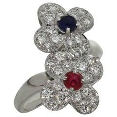 Van Cleef & Arpels Trefle Double Flower Diamond Ruby Sapphire White Gold Ring