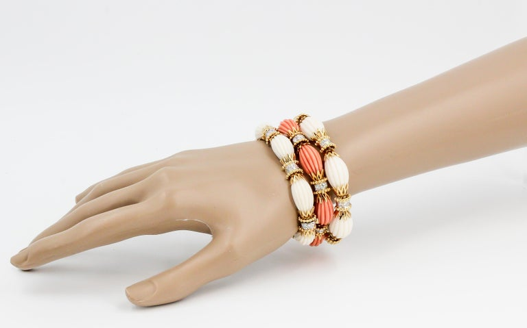 Contemporary Van Cleef & Arpels Trio Set Diamond, Coral Gold and Platinum Bracelets