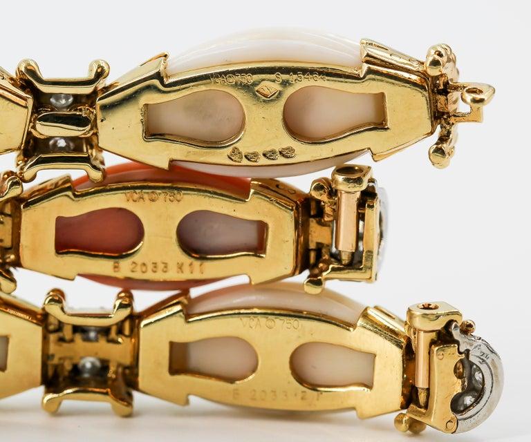 Van Cleef & Arpels Trio Set Diamond, Coral Gold and Platinum Bracelets 2