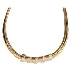 Van Cleef & Arpels Tubogas Vintage Diamond Necklace in 18K Yellow Gold 2.10 CTW