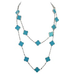 Van Cleef & Arpels Turquoise 20 Motif Alhambra Necklace White Gold