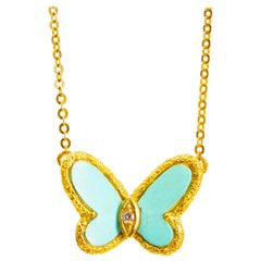 Van Cleef & Arpels, Turquoise and Diamond Butterfly 'Alhambra' Necklace