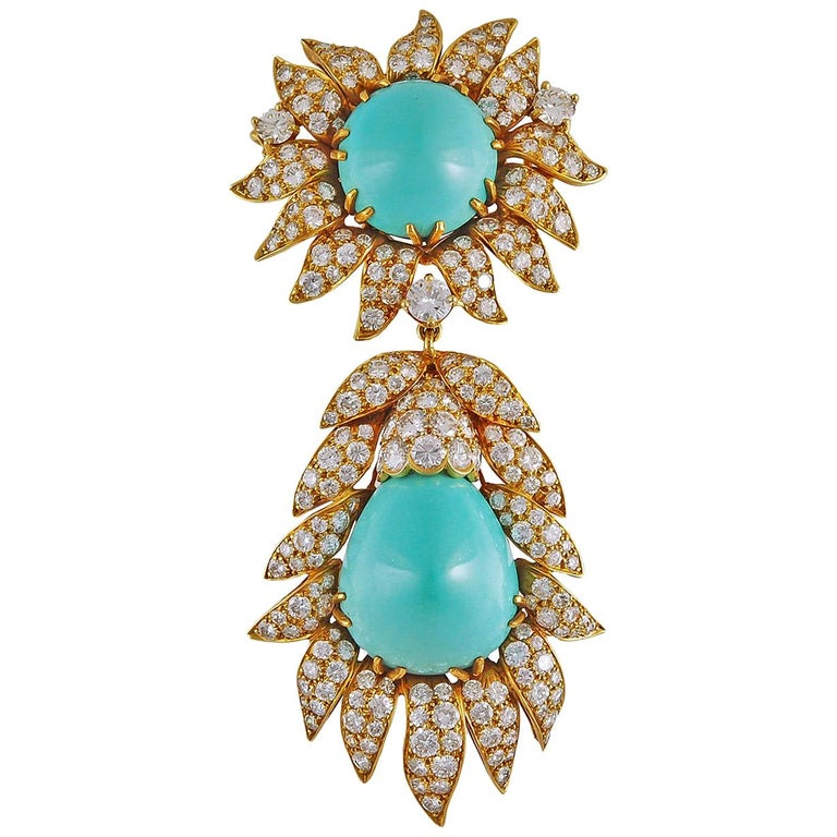 Van Cleef & Arpels Turquoise Convertible Pendant Brooch For Sale
