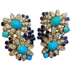 Van Cleef & Arpels Turquoise, Diamond and Sapphire Flower Earrings