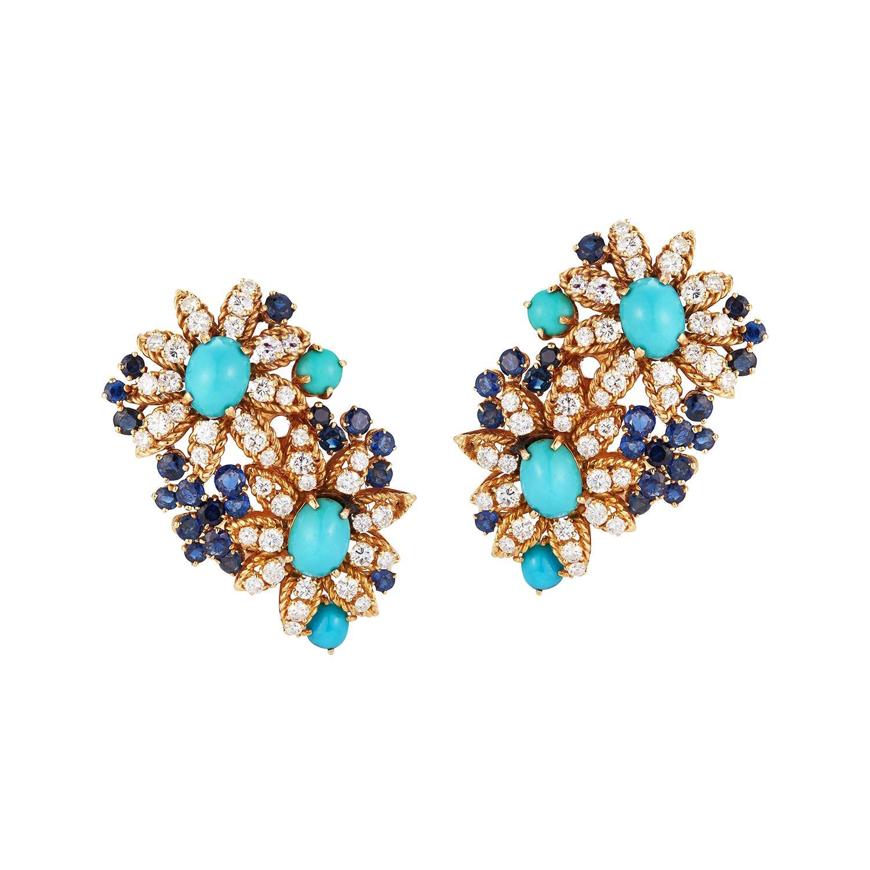 Van Cleef & Arpels Turquoise, Diamond and Sapphire Flower Earrings