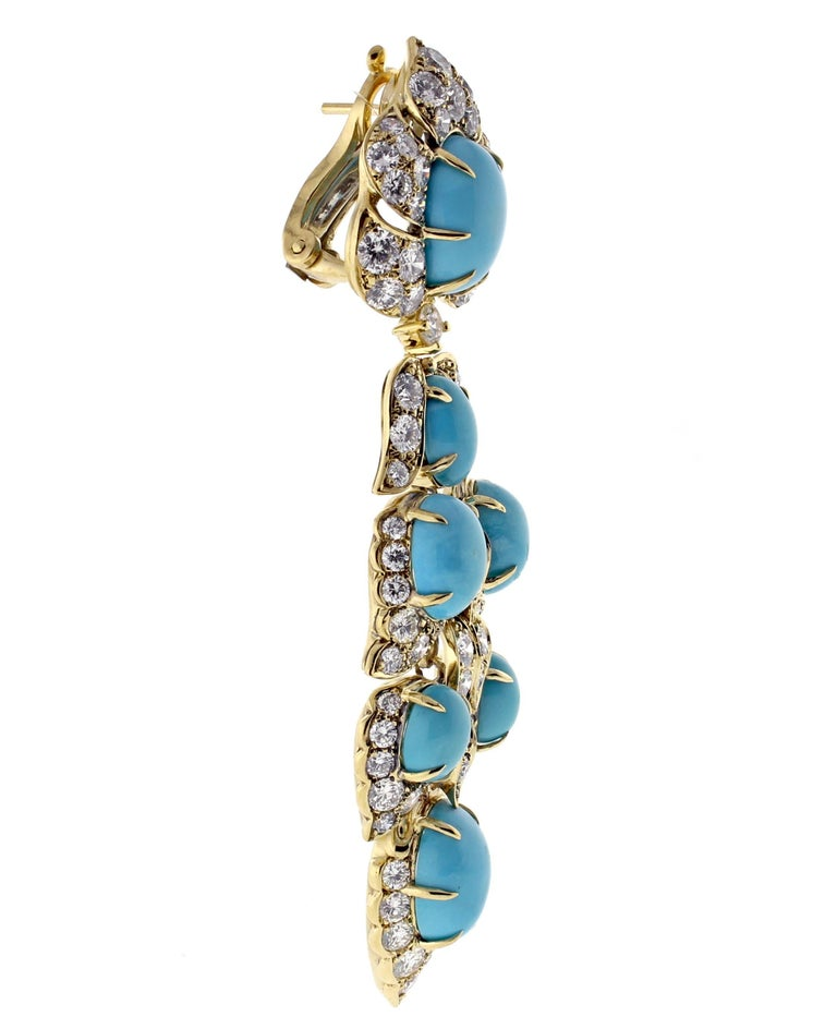 Van Cleef & Arpels Turquoise Diamond Drop Earrings In Excellent Condition For Sale In Bethesda, MD