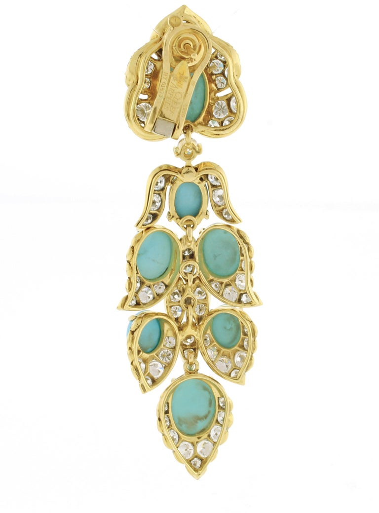 Van Cleef & Arpels Turquoise Diamond Drop Earrings For Sale 1