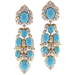 Van Cleef & Arpels Turquoise Diamond Drop Earrings