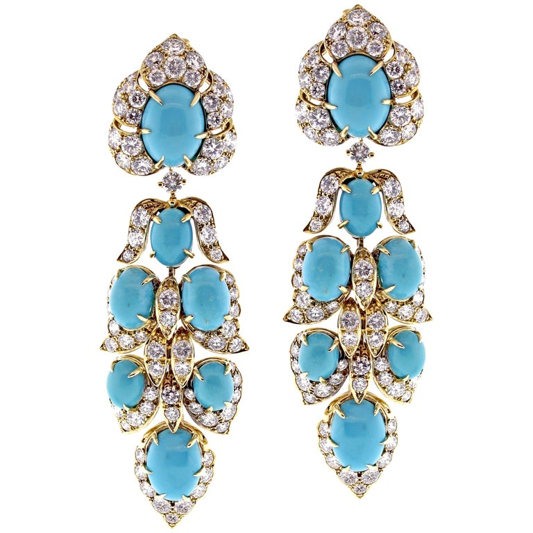 Van Cleef & Arpels Turquoise Diamond Drop Earrings For Sale