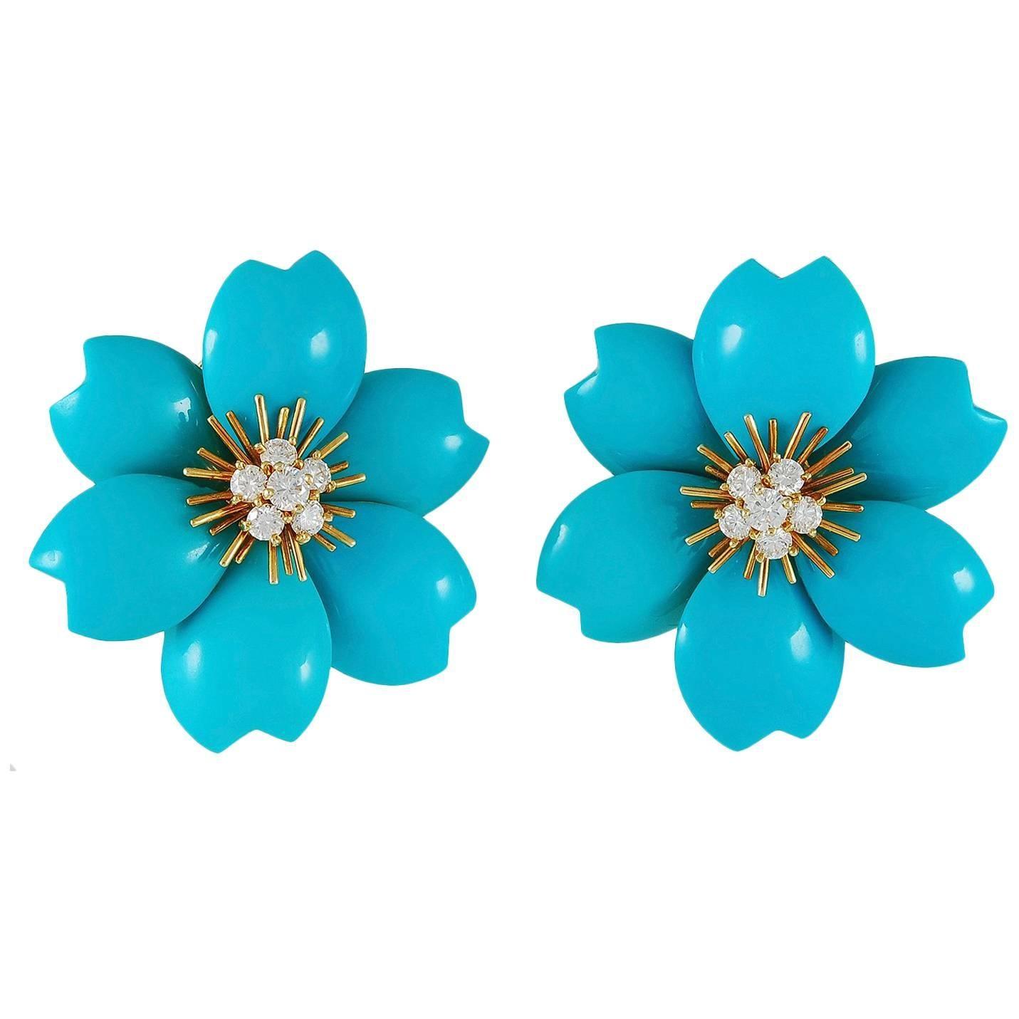 Van Cleef & Arpels Turquoise, Diamond Ear Clips