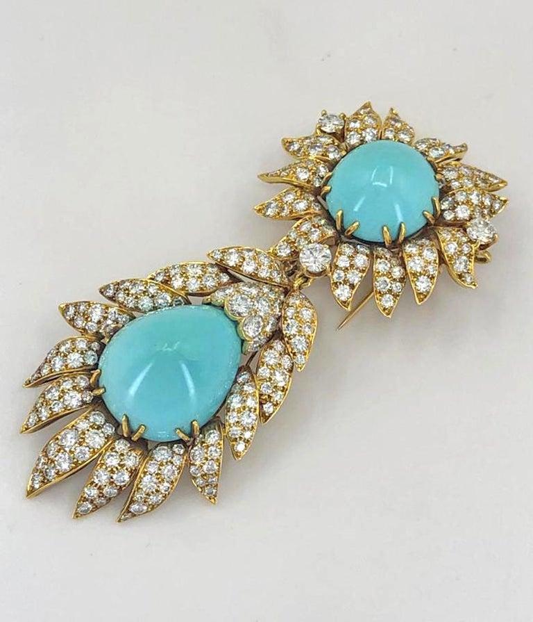 Women's Van Cleef & Arpels Turquoise Convertible Pendant Brooch For Sale