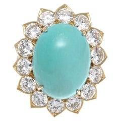 Van Cleef & Arpels Turquoise Diamond Gold Cocktail Ring