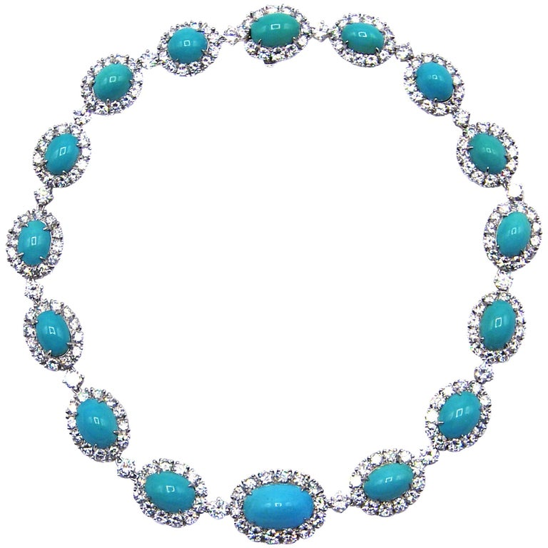 Van Cleef & Arpels Turquoise Diamond Platinum Choker Necklace For Sale